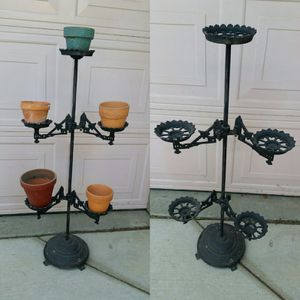 Cast Iron/Wrought Iron Plant Stand/Yard Art With Terracotta Pots for Sale in Patterson, CA