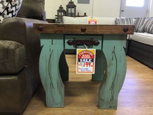 Palmetto distressed teal wooden square end table for Sale in Austin, TX