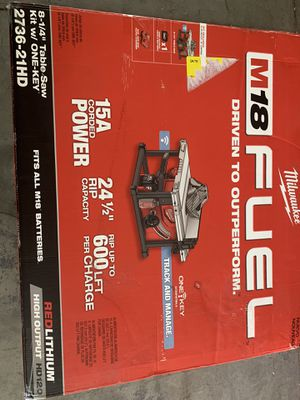 Milwaukee M18 FUEL ONE-KEY 18-Volt Lithium-Ion Brushless Cordless 8-1/4 in. Table Saw Kit W/ (1) 12.0Ah Battery & Rapid Charger for Sale in Hesperia, CA