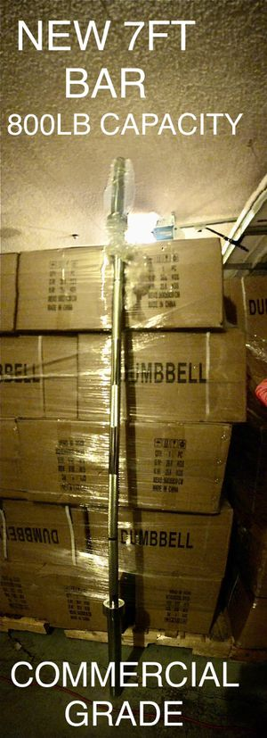 New 7ft olympic barbell commercial grade bar 800lb capacity weights for Sale in Fullerton, CA