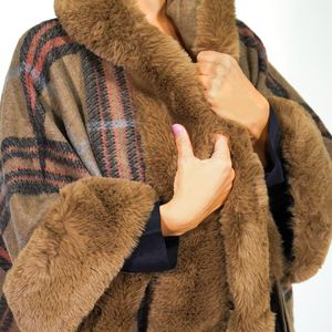 Women Knit Faux Fur Poncho Trimmed Shawl Cape Cardigan Scarf for Sale in Mount Prospect, IL