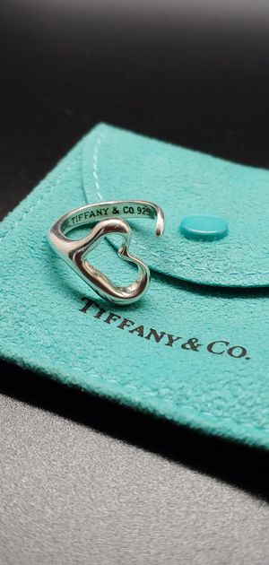 Tiffany & Co Elsa Peretti Sterling Silver Open Heart Ring Adjustable & Pouch! for Sale in Tacoma, WA
