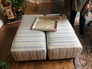 Two 4x2 ft oversized attomans, can be used together as a 4' square coffee table or independently for seating for Sale in Greer, SC