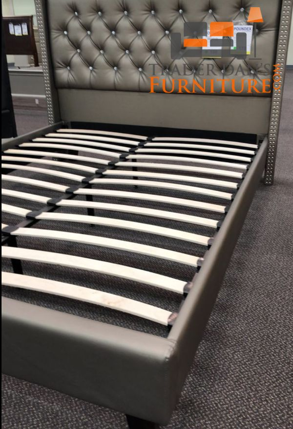 Brand New Queen Size Silver Leather Platform Bed Frame ONLY