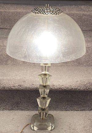 Vtg Antique Art Deco Mid Century Modern MCM UFO Flying Saucer Atomic Age Space Era Shade Stacked Cut Translucence Mushroom Acrylic Lucite Table Lamp for Sale in Chapel Hill, NC