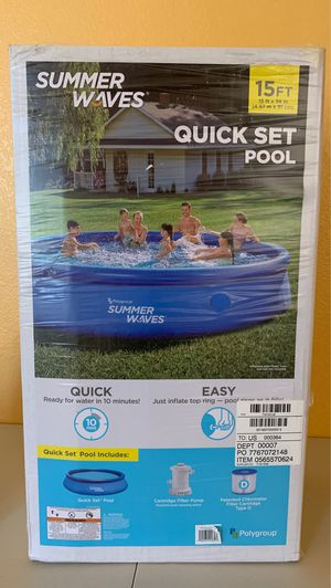 Brand New 15 Ft Summer Waves Quick Set Pool for Sale in Chandler, AZ