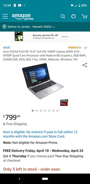 """Asus X555d Full HD 15.6"""" Full HD 1080P Laptop (AMD A10-8700P Quad Core Processor with Radeon R6 Graphics, 8GB RAM, 256GB SSD for Sale in Columbus, OH"""