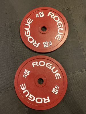 Rogue Calibrated 55lb/25kg Pair of Olympic Weights for Sale in Columbus, OH
