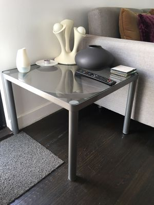 indoor / outdoor glass top metal end table for Sale in New York, NY