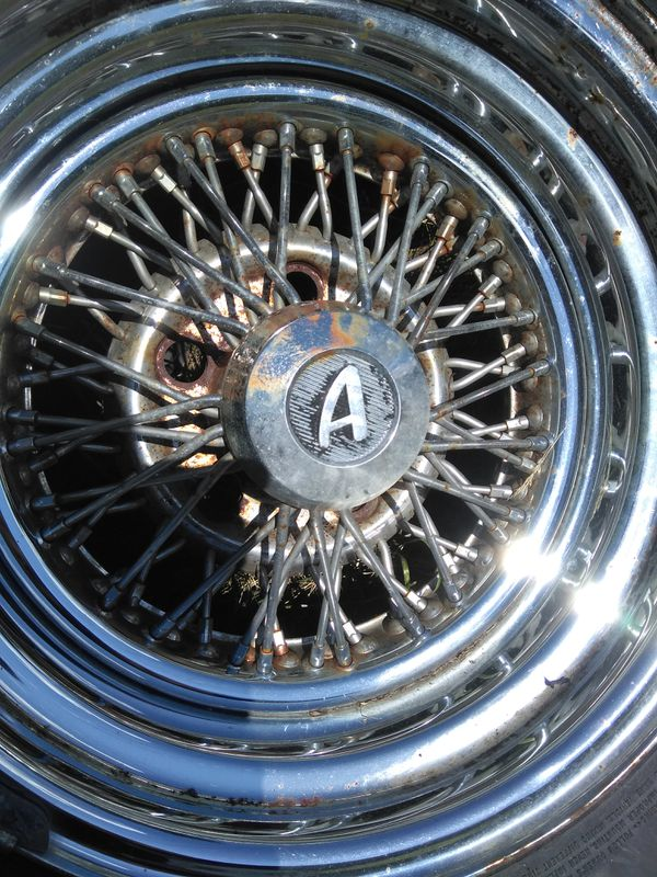 14x8 two & 14x7 two tru-spoke style chrome wire wheels, 5x4.75 gm bolt pattern etc