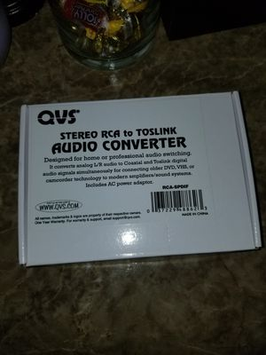 Qvs stereo analog rca to toslink digital S/PDIF audio converter for Sale in Marietta, GA