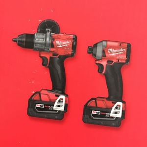 Milwaukee M18FUEL Hammer Drill Impact Driver Two 5.0 Batteries And Charger for Sale in Bolingbrook, IL