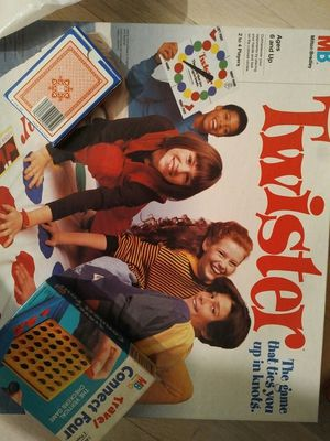 Twister game, travel size Connect Four, a deck of playing cards. for Sale in Wantagh, NY