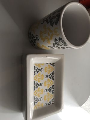 White and red floral ceramic soap holder and cup for Sale in Arlington, VA