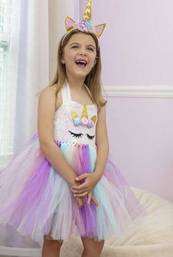 Medium Unicorn Costume for Girls Dress Up Clothes for Little Girls Rainbow Unicorn Tutu with Headband Birthday Gift for Sale in Redlands,  CA