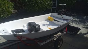 Mini fishing boat with trolling motor and trailer for Sale in San Leandro, CA