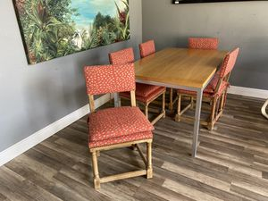 60x36x29 Country Farmhouse Style Dining Kitchen Nook Table W/ 5 Upholstered Chairs Great Condition for Sale in Lake Worth, FL