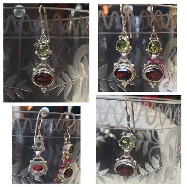 Jeweler made Sterling/Peridot/Garnet Drop Wire Earrings