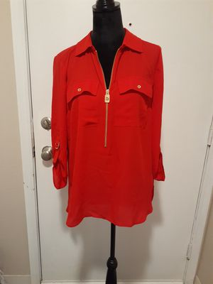 NWT, 💥Michael Kors Red Zip Up Career Top Blouse, M, Retail $110 for Sale in Federal Way, WA