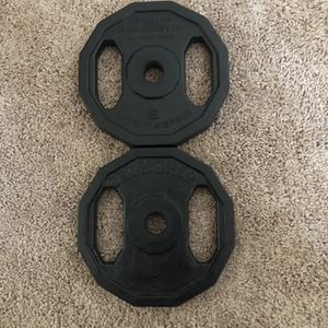"""2 x 5 lbs IRON GRIP Weights - Standard 1"""" Weight Plates - 10 lbs total for Sale in Los Angeles, CA"""
