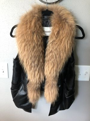 Real leather/fur vest for Sale in Lake Forest Park, WA