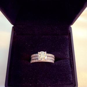 Right In Time For Valentines Round Diamond Center Stone GIA Certified Engagement ring 3 Carats White Gold Ring With Wedding Bands for Sale in Dallas, TX