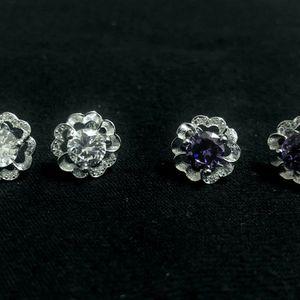 Sterling Silver /Round CZ Earrings for Sale in Sloan, NV