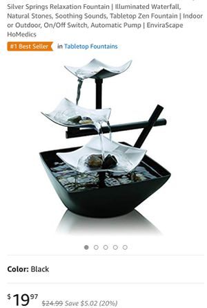 Silver Springs Relaxation Fountain | Illuminated Waterfall, Natural Stones, Soothing Sounds, Tabletop Zen Fountain | Indoor or Outdoor, On/Off Switch for Sale in North Las Vegas, NV