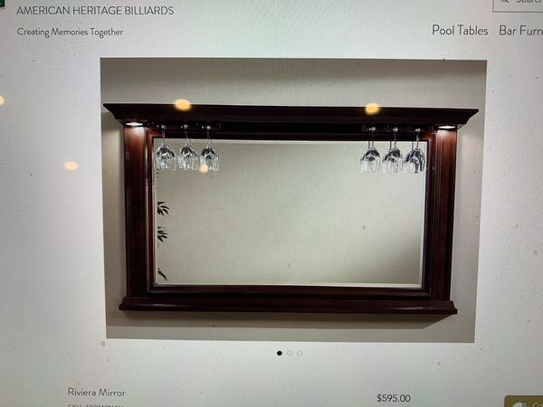 American Heritage Paxton Billiard Collection - Wood bar with lights, wine rack, and 4 bar stools (LIKE NEW)