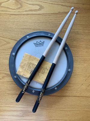 Remo practice drum pad & Zildjian 5A Dip drumsticks for Sale in S WILLIAMSPOR, PA