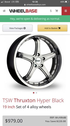 19 inch TSW Thurxton Hyper Black Rims and tires for Sale in Los Angeles, CA