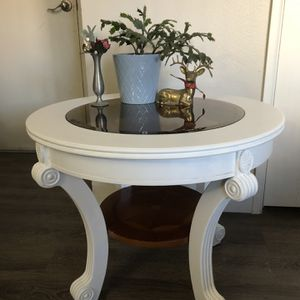 Wood Round Table With Glass for Sale in Denver, CO