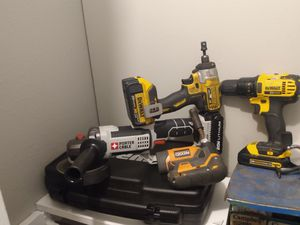 DeWalt drill and impact 20 volt Porter Cable 20 volt angle grinder/cutter and rigid 12 volt impact handheld all have batteries but no chargers for Sale in Midwest City, OK