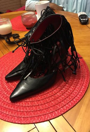 "Black Genuine leather ""coup d'etat"" (Size 7b) ft. Ankle fringe tie for Sale in Greenville, SC"