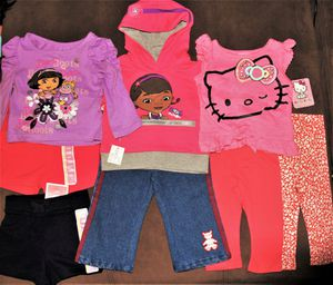 NEW 12 Month 8pc Interchangeable Hello Kitty. Nickelodeon. Dory. Doc McStuffins Shirts, Shorts, Swatshirt & Pants Outfits for Sale in Beaverton, OR