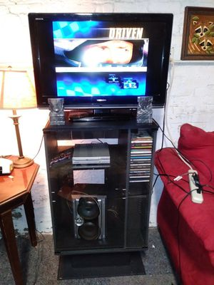 Black Entertainment /Multimedia Center Stand w/Glass Doors and Shelved Storage for Sale in St. Louis, MO
