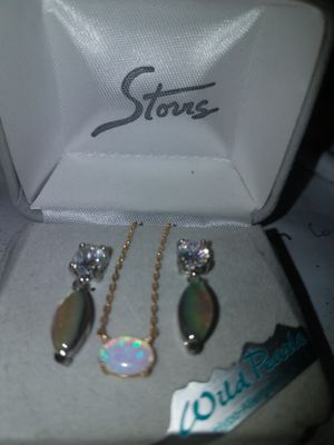 Matching mystic island earrings and 14k gold chain for Sale in Baltimore, MD