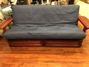 Futon with Full size innerspring mattress & storage! for Sale in Alexandria, VA