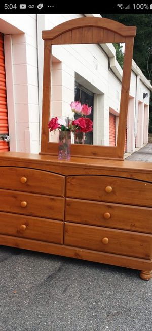 SOLID WOOD DRESSER WITH BIG DRAWERS AND BIG MIRROR ALL DRAWERS SLIDING SMOOTHLY EXCELLENT CONDITION for Sale in Fairfax, VA
