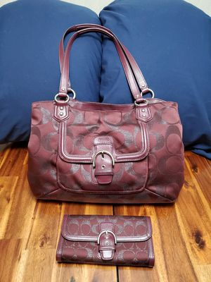 Coach Signature Purse Handbag G1382 with Matching Wallet for Sale in Taylor, MI
