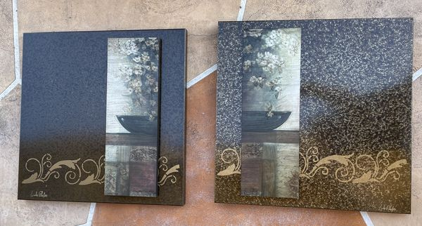 NEW Marble Paintings (Set Of 2)