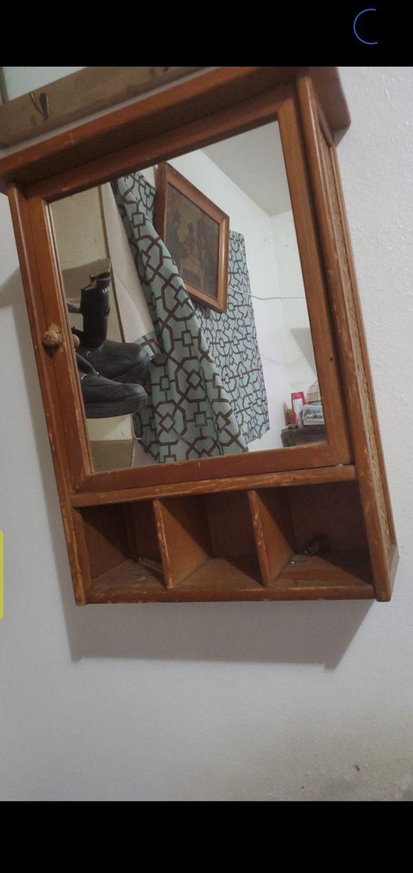 Wood medicine cabinet with mirror