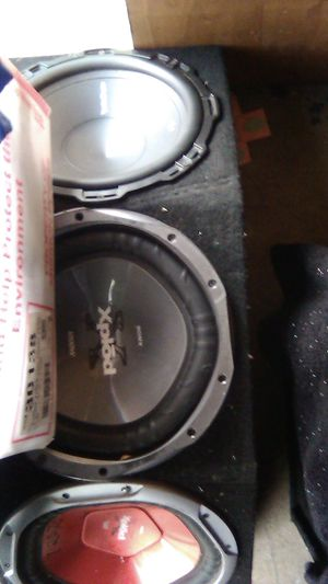 Sub woofers two explods one rockfordfosgate.,three 12,s wit box. Hard hitter...BASS for Sale in Downey, CA