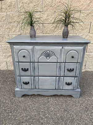 Elegant shabby chic gray color drawers dresser for Sale in Lake Elsinore, CA