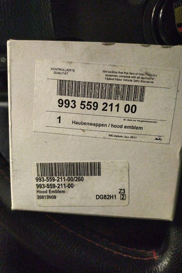 New! PORSCHE 911 Hood Crest OEM--Brand New in Box and Plastic 911 930 964 993