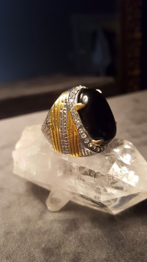 Two toned black ONYX stainless steel ring size 8❤️❤️❤️ shipping only👍🏽 for Sale in Harborside, ME