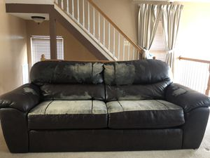 Brown leather couch needs a little TLC or couch cover for Sale in Arlington, VA