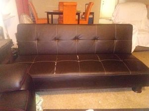 Leather futon for Sale in Tampa, FL