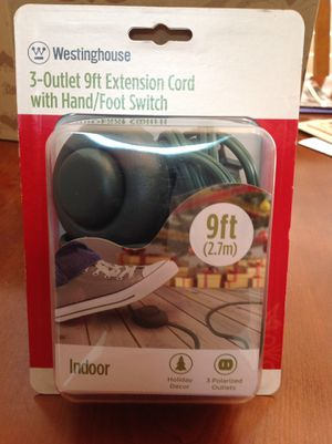 Three Outlet Christmas Tree Extension Cord with Foot/Hand switch. New in package. NE Garland for Sale in Garland, TX