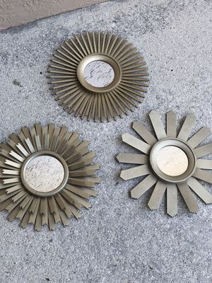 3 wall hanging sun burst gold mirrors diameter 10 inches for Sale in Davie, FL